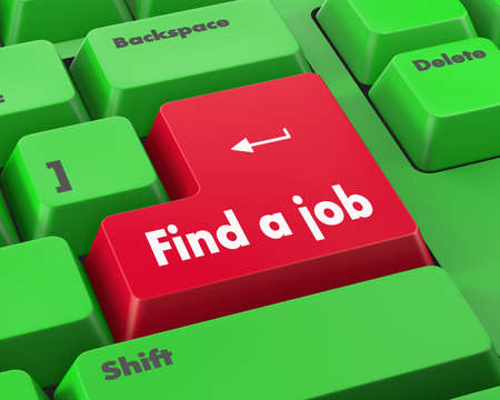 to find: Text find a job button 3d render Stock Photo