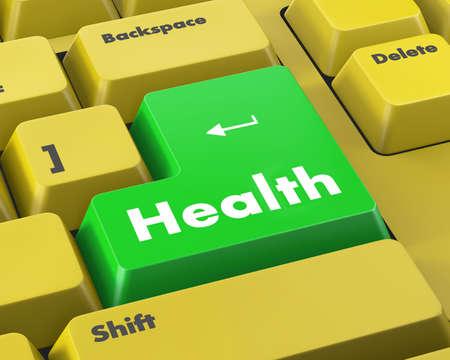 button computer: estilo de vida saludable se muestra el bot�n del ordenador de la salud