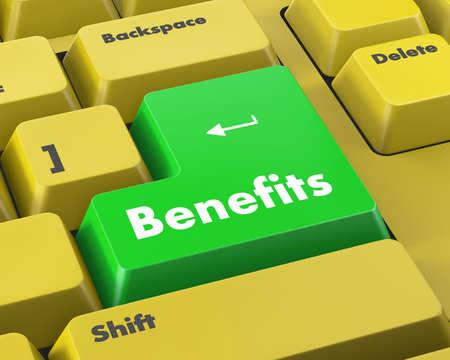 fringe benefit: Benefits Button on Modern Computer Keyboard. 3D Render. Stock Photo