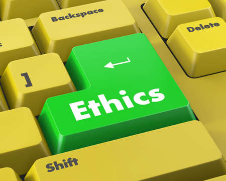 regulate: A keyboard with a key reading ethics Stock Photo