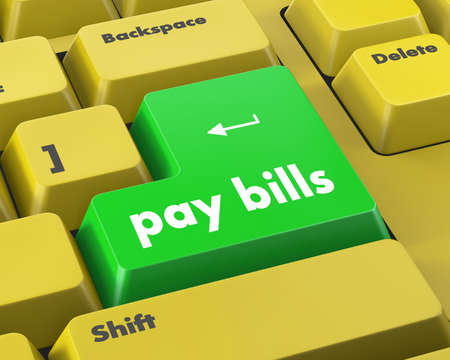 pay bills: pay bills button on the computer keyboard
