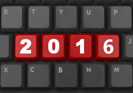 two thousand and fourteen: 2016 new year key on red keyboard 3D