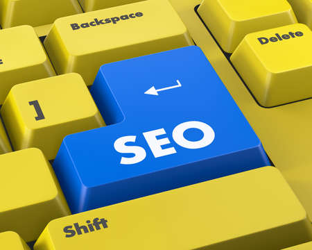 page rank: Text SEO button 3d render