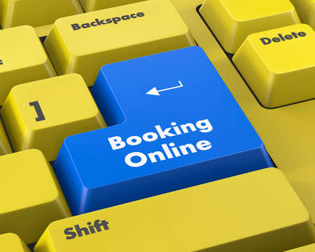 netbooks: Text booking online button 3d render Stock Photo