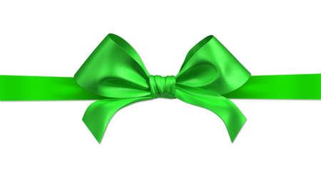 ribbon bow: green ribbon bow on white background Stock Photo