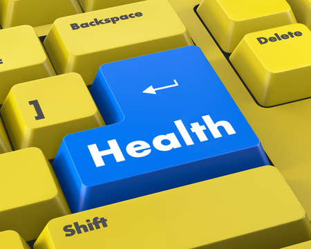 button computer: healthy lifestyle shown by health computer button Foto de archivo