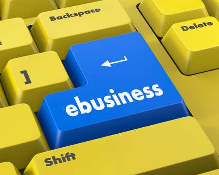 net trade: Text ebusiness button 3d render