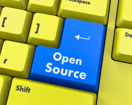 freeware: Hand pushing  open source keyboard button Stock Photo
