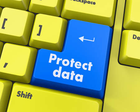 proteccion: Concepto de Privacidad: Teclado de ordenador con palabra de Protección de Datos de introducir fondo botón, 3d