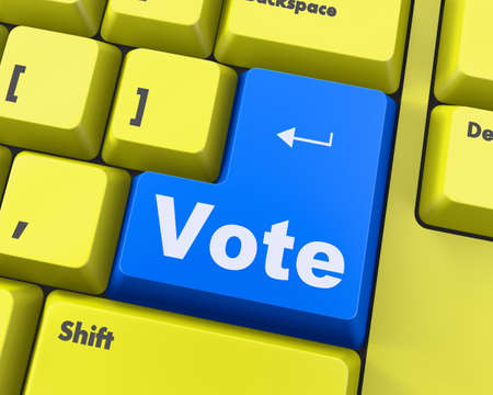 elect: vote button on computer keyboard showing internet concept