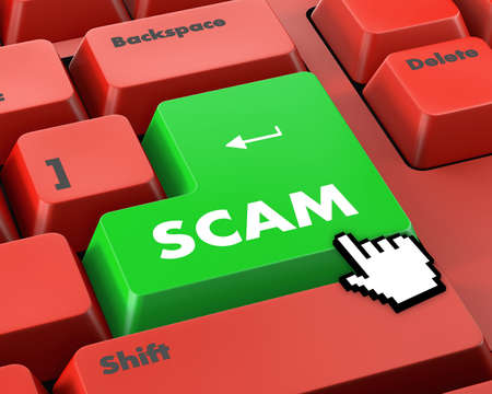 web scam: Scam Computer Keys Showing Swindles And Fraud Stock Photo