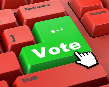 vote button: vote button on computer keyboard showing internet concept