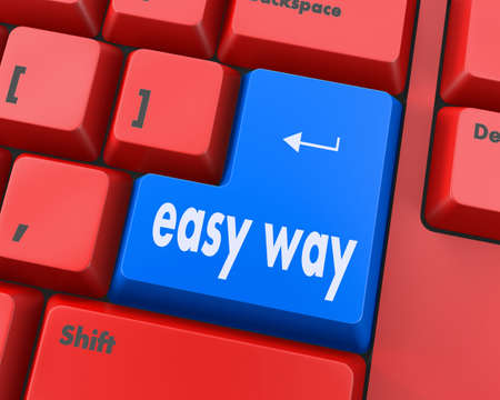 qwerty: easy way button on computer keyboard pc key, raster