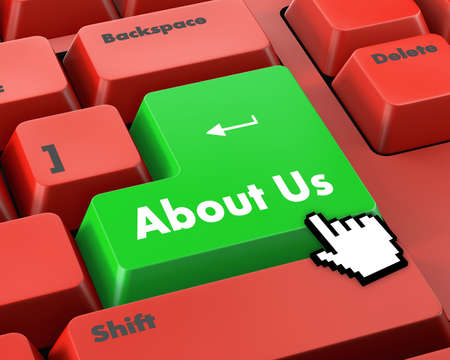 contacting: A about us message on keyboard, internet or online contact through website. Stock Photo