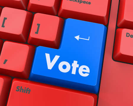 vote: Text vote button 3d render Stock Photo