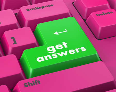 inquire: A keyboard with a key reading get answers Stock Photo