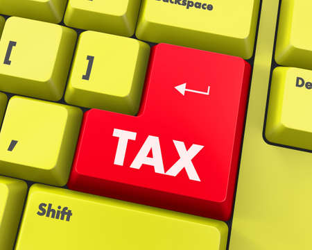 tax forms: Text tax button 3d render Stock Photo