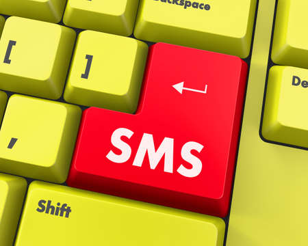 teleworker: Text sms button 3d render Stock Photo