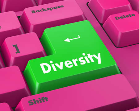 elearn: A computer keyboard with red keys spelling diversity, learn, raster Stock Photo