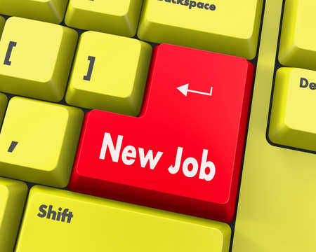 job vacancies: Text new job button 3d render Stock Photo