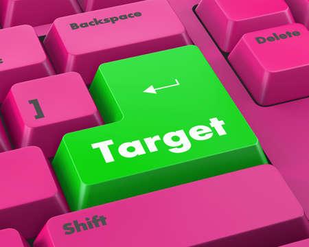 cyberwar: Text target button 3d render Stock Photo