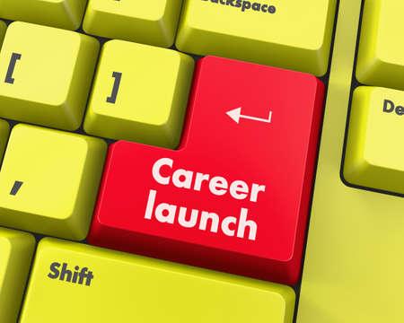 career development: Text career launch button 3d render Stock Photo