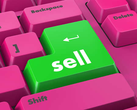 sell: sell message on keyboard, to sell something or sell concept for stock market. Stock Photo