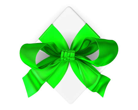 goodie: White gift with green ribbon on white background