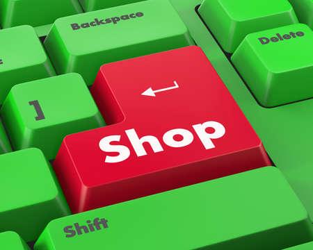 shop button: Text shop button 3d render