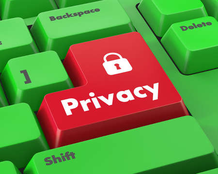 invade: message on keyboard enter key, for privacy policy concepts Stock Photo
