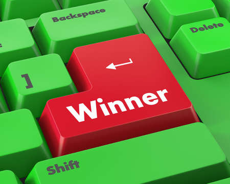 sweepstake: winner button on the keyboard key close-up Stock Photo