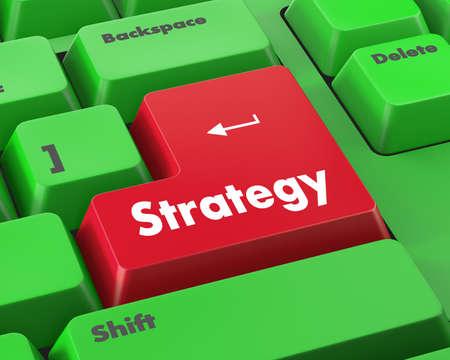 estrategia: Concepto Estrategia. Bot�n en moderno teclado de ordenador con la Estrategia palabra. Foto de archivo