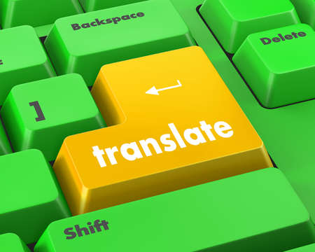 computer peripheral: Translate Computer Key In Blue Showing Online Translator Stock Photo