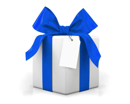 birthday gifts: blue gift box 3d render