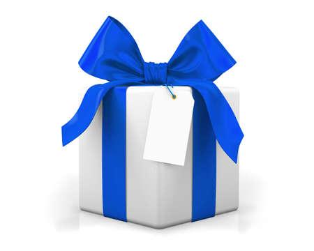 moños de navidad: caja de regalo azul 3d rinde