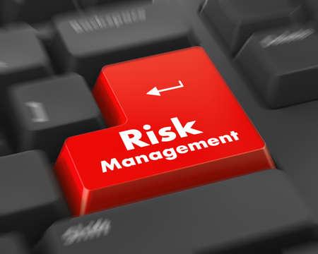 コンピューターのキーボードでオレンジのリスク管理ボタン。ビジネス コンセプトです。