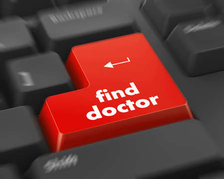 technology symbols metaphors: Text fine doctor button 3d render Stock Photo