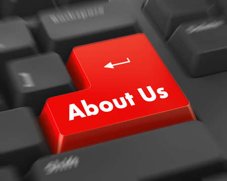 inquiry: A about us message on keyboard, internet or online contact through website. Stock Photo