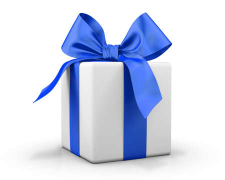 blue bow: blue gift box 3d  render