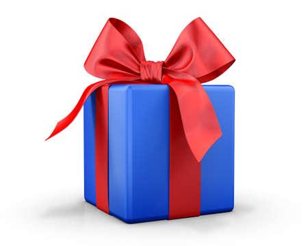 파란색 선물 상자 3 차원 렌더링