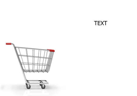 copy space: shopping cart and copy space 3d render Stock Photo