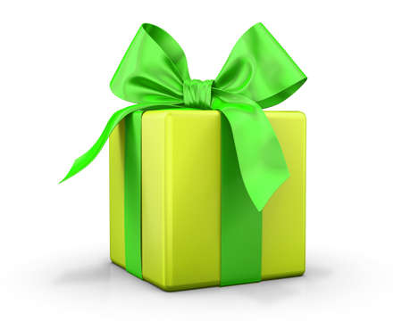 birthday presents: yellow gift box 3d  render Stock Photo