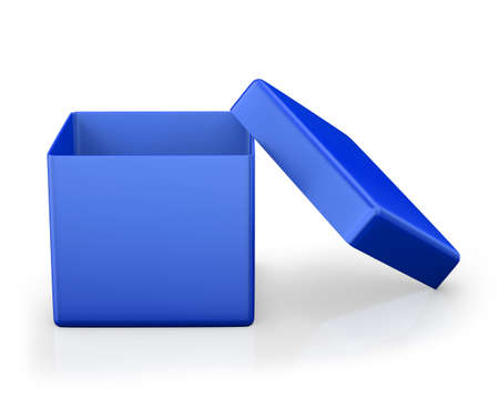 storage box: open box from front isolated. 3d render Stock Photo