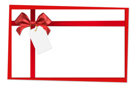 red label: red ribbon bow on white background
