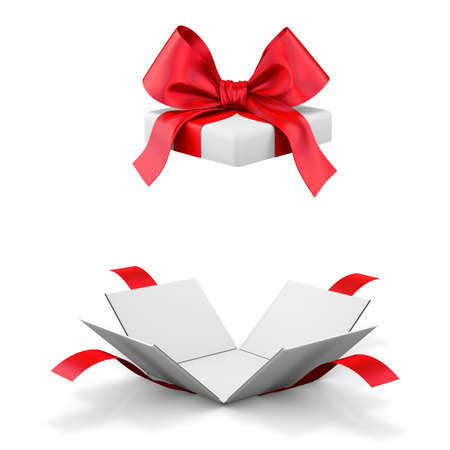cajas de carton: abrir caja de regalo sobre fondo blanco Ilustración 3D Foto de archivo