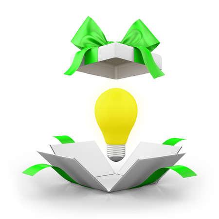 business ideas: open gift box over white background 3d illustration