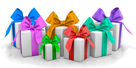 birthday present: Christmas gifts isolated on white background