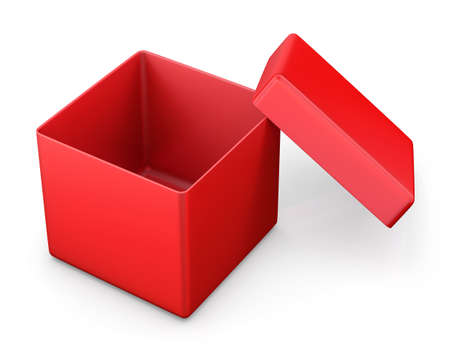 ship with gift: open box from front isolated. 3d render Stock Photo