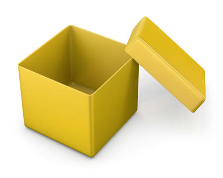 box open: open box from front isolated. 3d render Stock Photo
