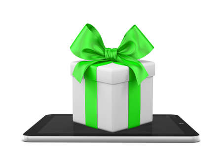 open box: gift that come from a tablet, xmas shopping online